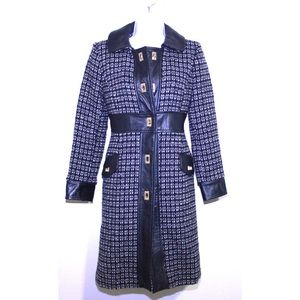 Milly Jackets & Coats - MILLY Wool and Leather Tweed Designer Winter Coat
